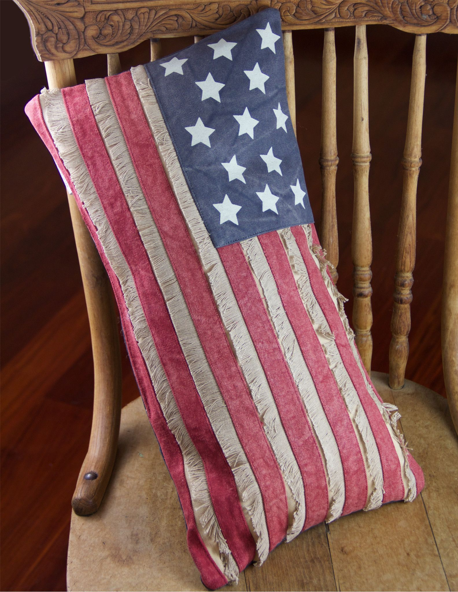 Primitive american flag pillow with fringe patriotic pinterest