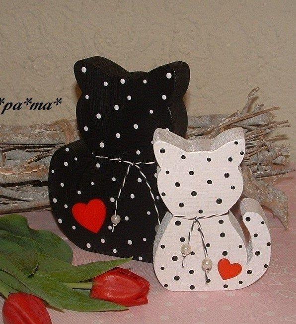 Photo of Deko Katzen aus Holz 2teilig            Frühlingsdeko,Holzdekoration,Gastgeschenk,Sommerdeko Holz,Fensterbank Deko,Landhausdeko,Wohndeko