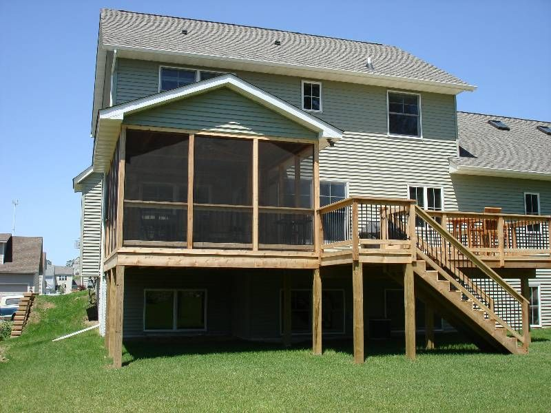 Bi level deck pictures wth screened in porch screen for Bi level house with front porch