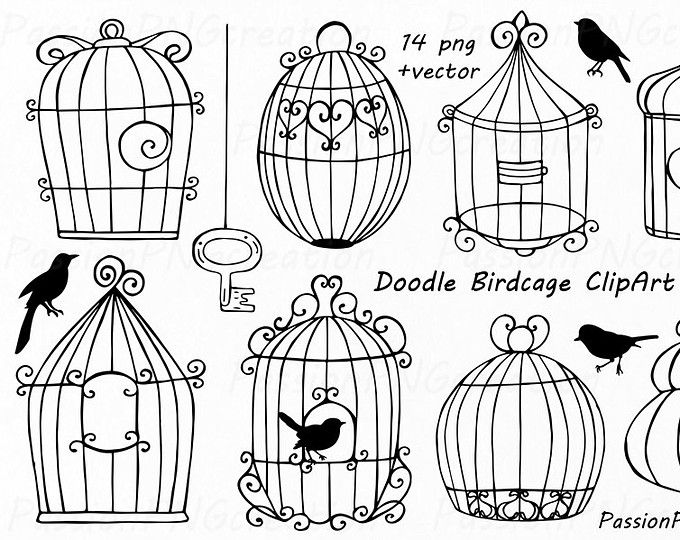 Big Set Of Doodle Summer Cliparts Hand Drawn Vacation Clipart Digital Clip Art Png Eps Ai Vector Clipart Personal And Commercial Use Bird Doodle Bird Cage Design Doodles