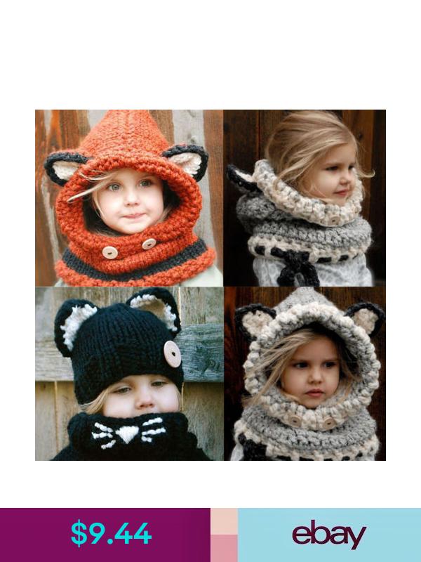Baby Girls Boy Toddler Kids Winter Fox Hooded Scarf Hat Wool Knitted Crochet Cap Kids Hats Childrens Hats Kids Scarf