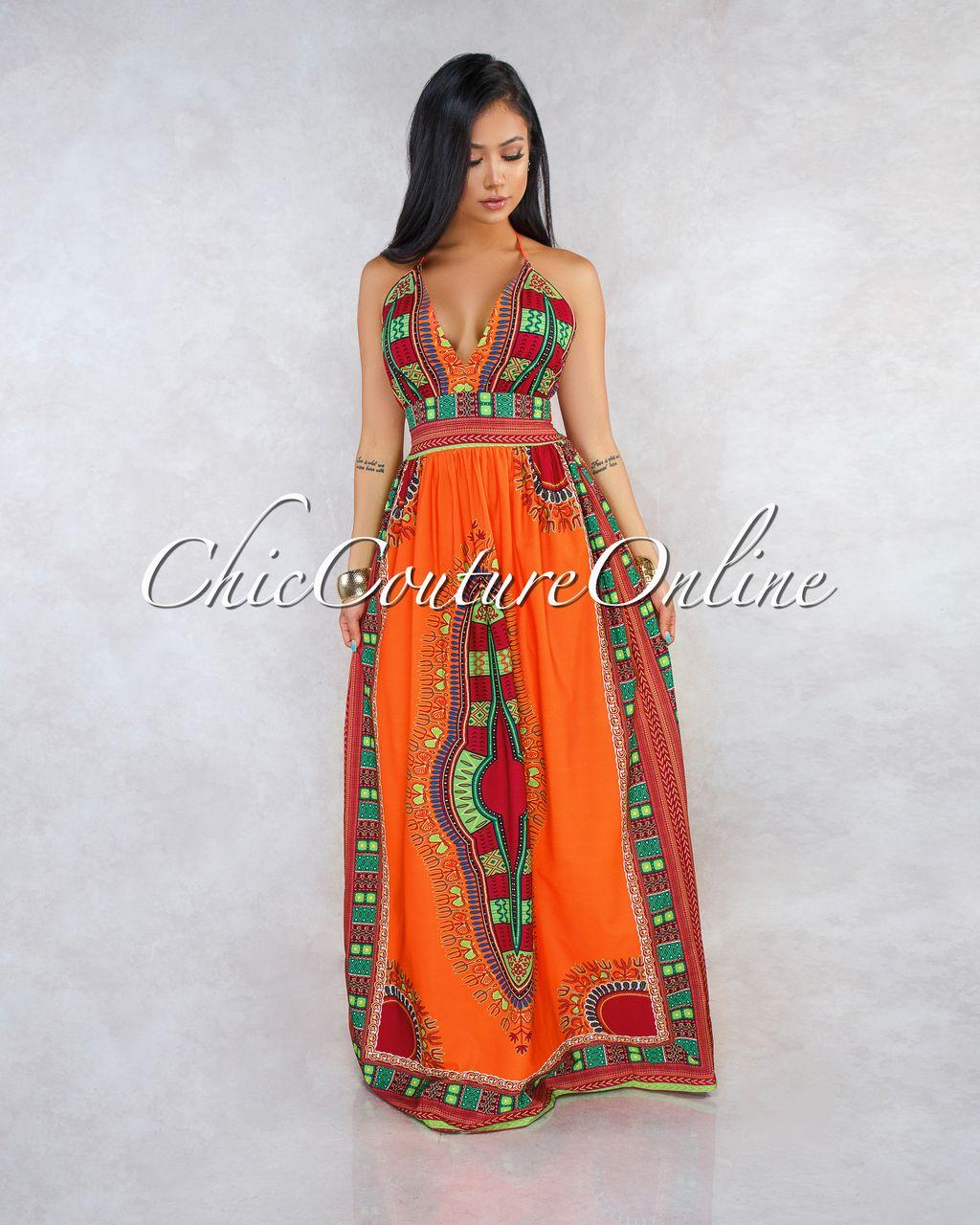 216578ef56 Thalita Orange Tribal Print Maxi Dress in 2019 | Clothing ~ Chic ...
