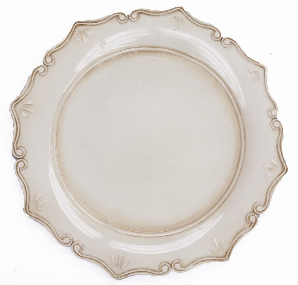 This Placesetting Is To Die Gold Charger Champagne: Royal Antique Charger Plate - Antique Ivory