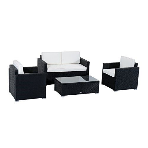 Outsunny 4 Piece Cushioned Outdoor Rattan Wicker Sofa