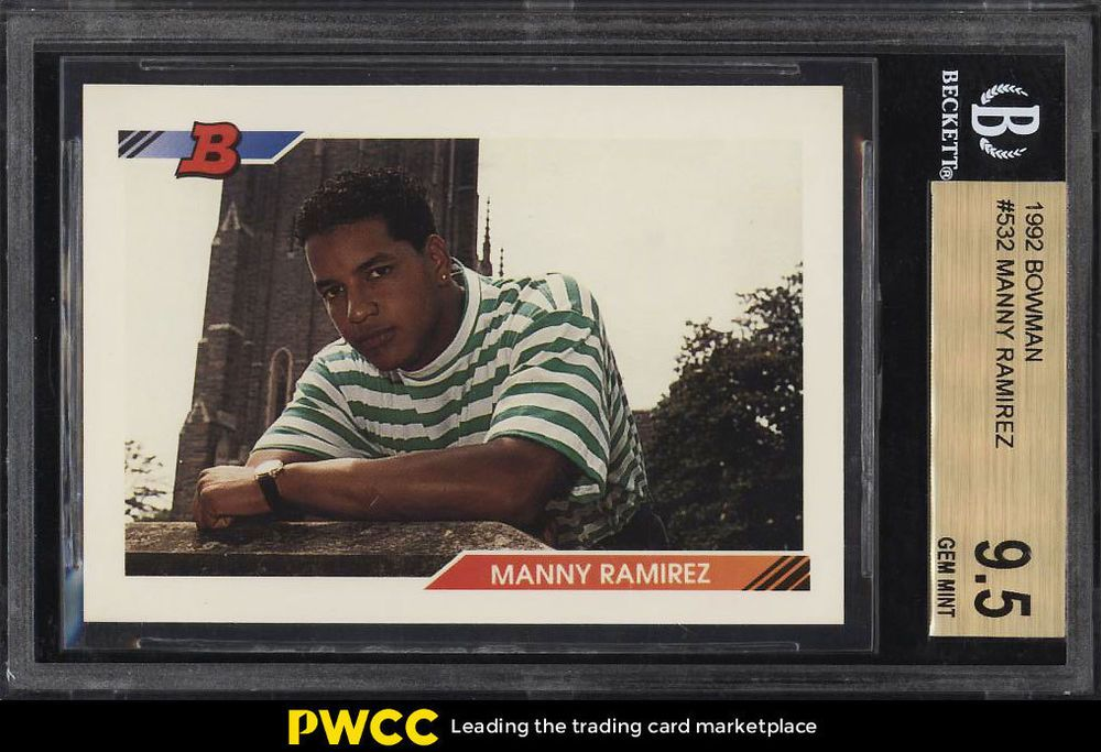 1992 bowman manny ramirez rookie rc 532 bgs 95 gem mint