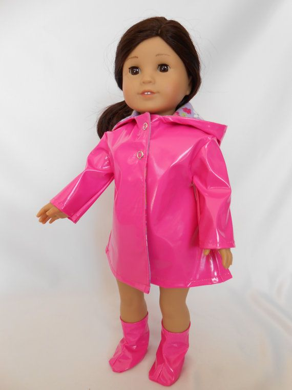 18 Doll Hot Pink Raincoat and Rain Boots for by pleasantcompany01, 20.00