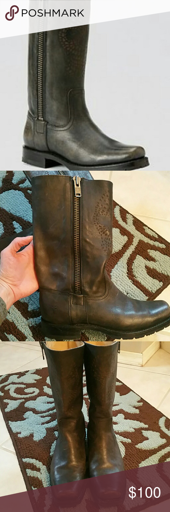 """Frye Womens Frye Heath Skull zip boot. Color is """"smoke"""" squared toe and has the """"worn in"""" look. Tread still good..not worn a whole lot. Skull print on the front with frye symbols. Super cute, just wasn't quite my style. Size 8 *no box Frye Shoes"""