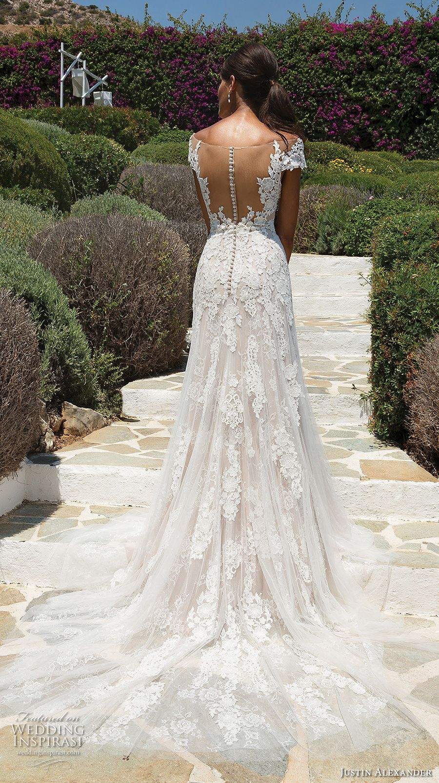 Lace over tulle wedding dress january 2019 Justin Alexander  Wedding Dresses  Wedding Dresses  Pinterest