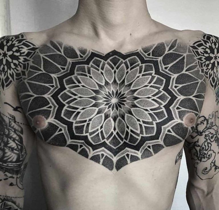 A Geometric Chest Piece By Tony Chest Tattoo Men Tattoos For Guys Chest Tattoo