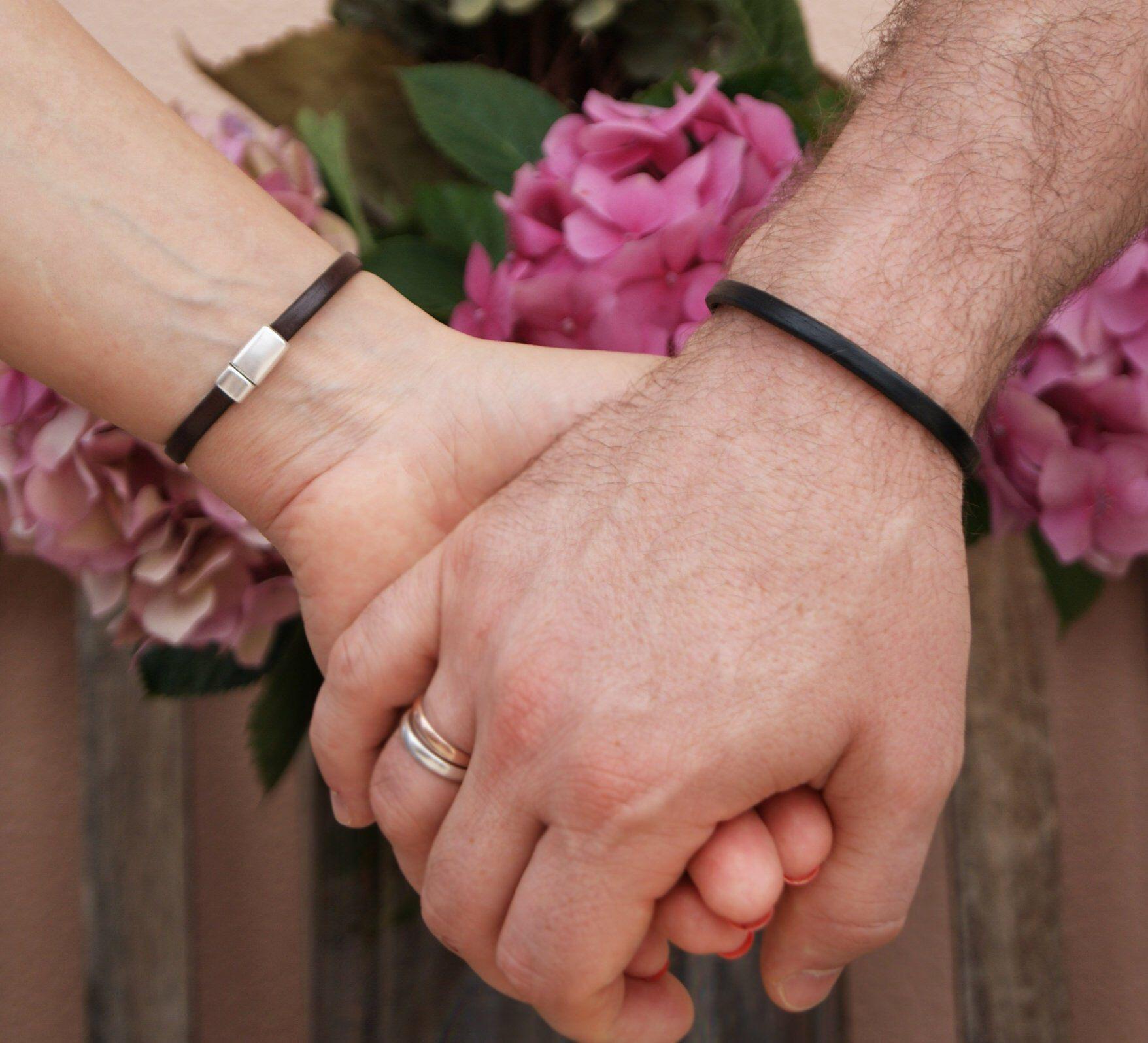 Minimalist Wedding Gift Matching Bracelets Couples Hidden Message ...