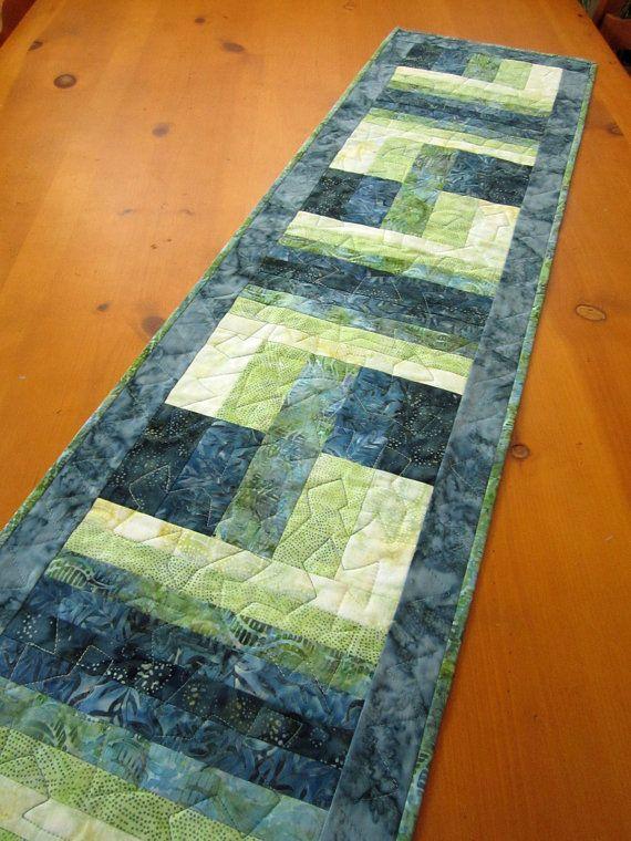 Batik Table Runner Teal Color Handmade Quilted Runner ...