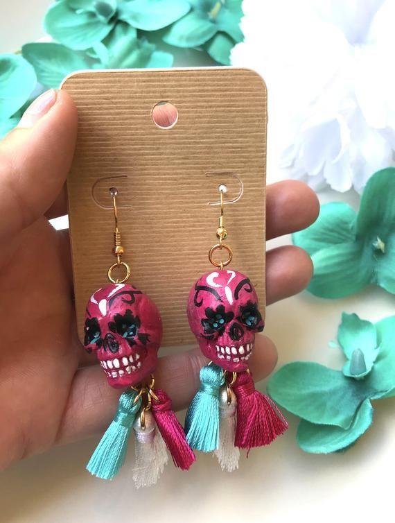 1e9ca5994 Sugar Skulls / Halloween Earrings / Halloween Jewelry / Sugar Skull Earrings  / Tassel Earrings / Sta