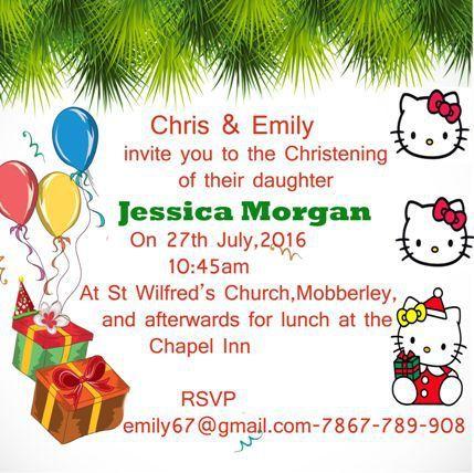 Hello kitty christening invitation template | Hello kitty ...