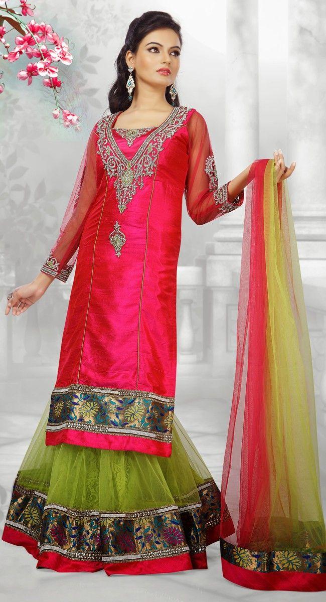 Charmer Parrot Green Net Ready Made #Chaniya #Choli