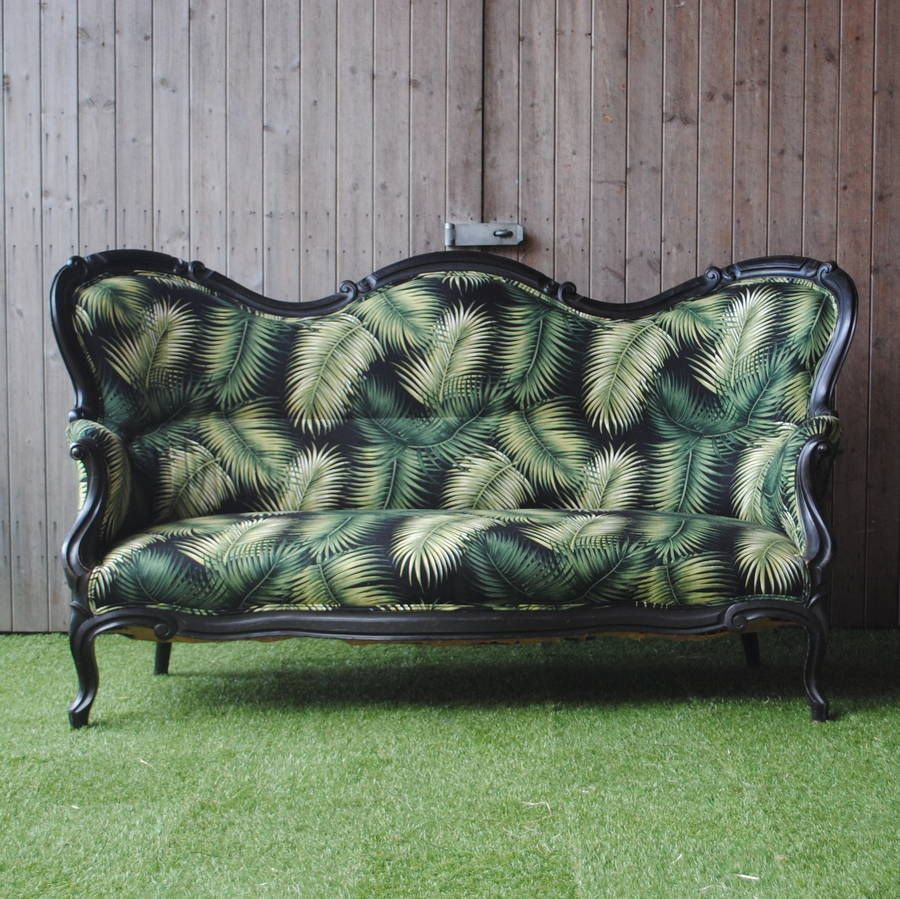 Victorian Refurbished Palm Print Sofa