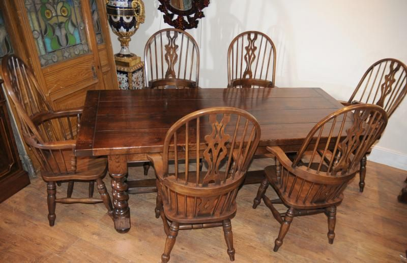 Farmhouse Refectory Table Set Windsor Arm Chairs Kitchen  Kitchen Custom Antique Dining Room Table And Chairs Inspiration