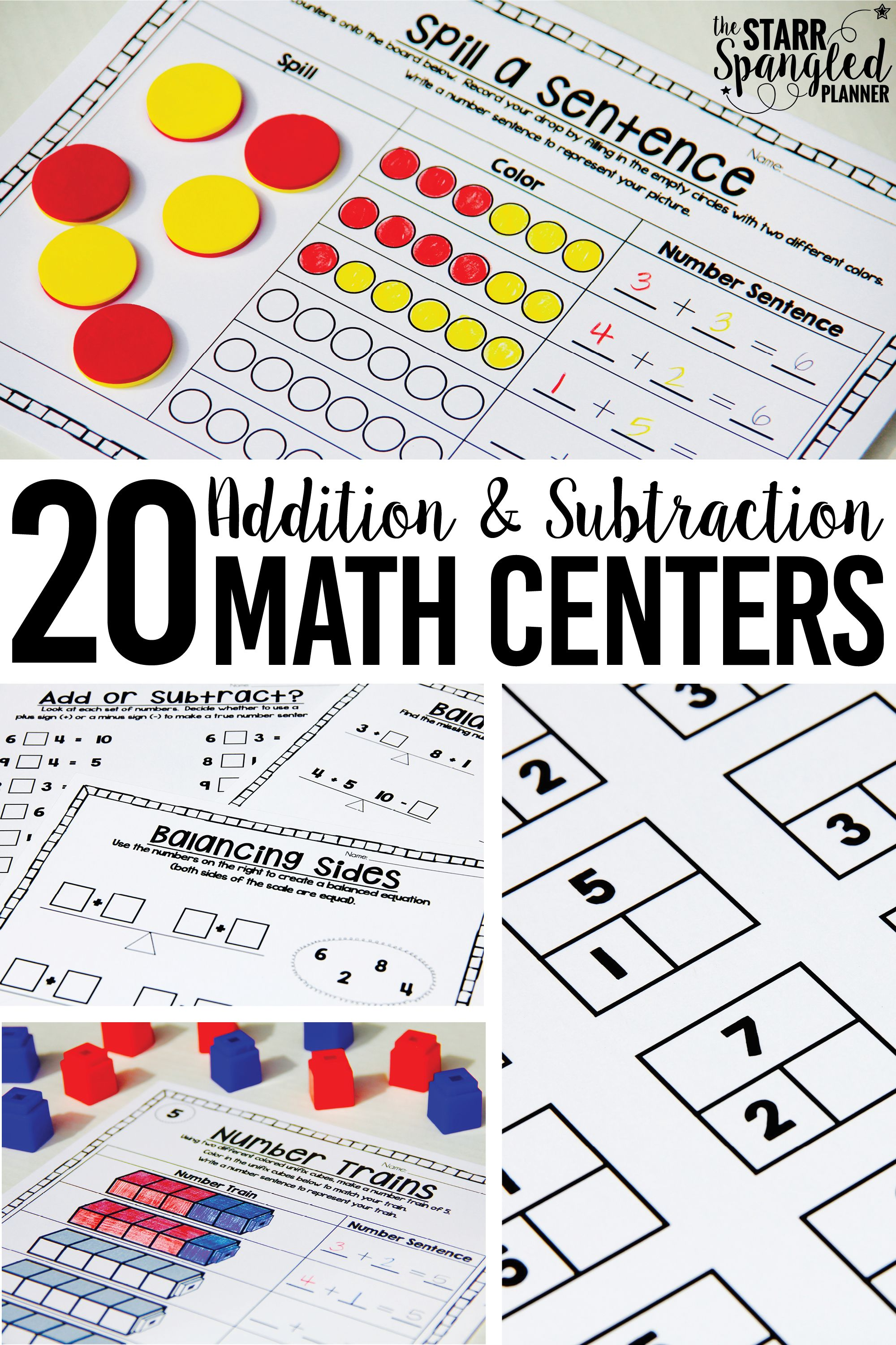 Addition And Subtraction Math Centers Math Centers Math Addition Guided Math Addition and subtraction relationship