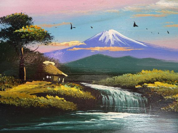 Beautiful Vintage Japanese Hand Painted Postcard Mount Fuji Japan