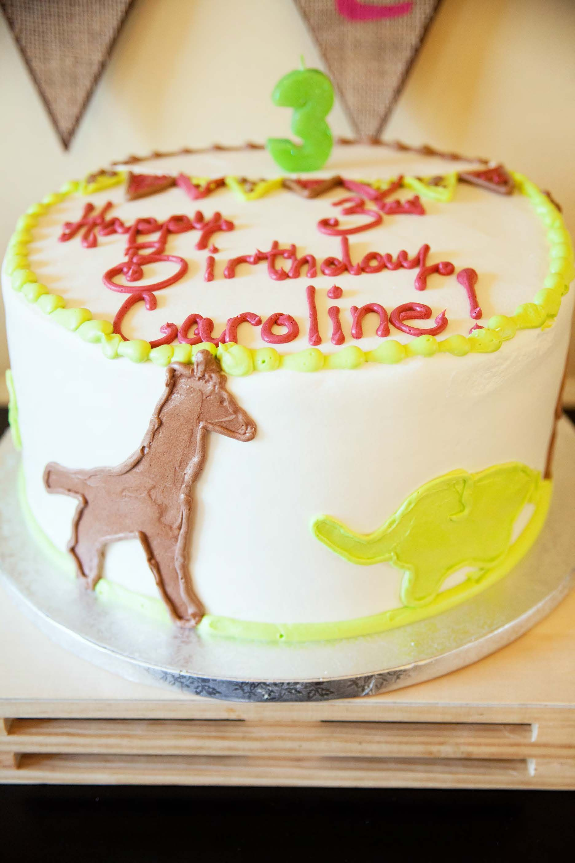 Safari birthday cake with animal silhouettes from Publix
