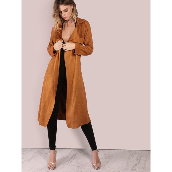 Brown Suede Self Tie Duster Coat (£23) ❤ liked on Polyvore ...