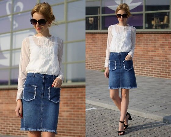 Denim Skirt And Blouse