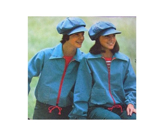 1970s Newsboy Cap and Jacket Pattern Unisex Drawstring Jacket and Hat  Simplicity 7253 Size Small Mens f5787512dc86