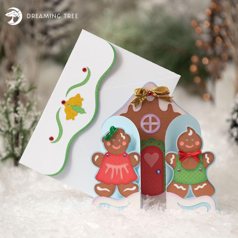 Gingerbread Greetings SVG Gatefold cards, Gold foil