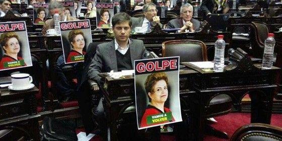 Parlamento argentino denunciando o golpe - Protesto contra impeachment de Dilma no parlamento argentino (Foto: Reprodução)