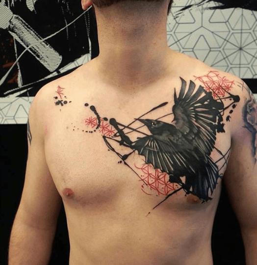 Tatouage corbeau effet trash polka tatoo pinterest tatouage corbeau corbeaux et tatouages - Tatouage corbeau signification ...