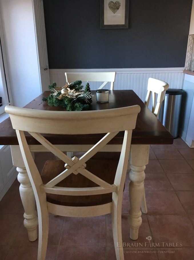 Braslow (X-back) cherry chairs surround this reclaimed white pine ...