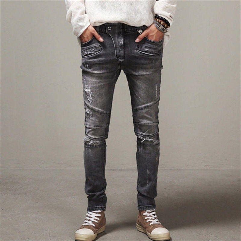 Fashion Distressed ripped skinny jeans men street wear skateboard ...
