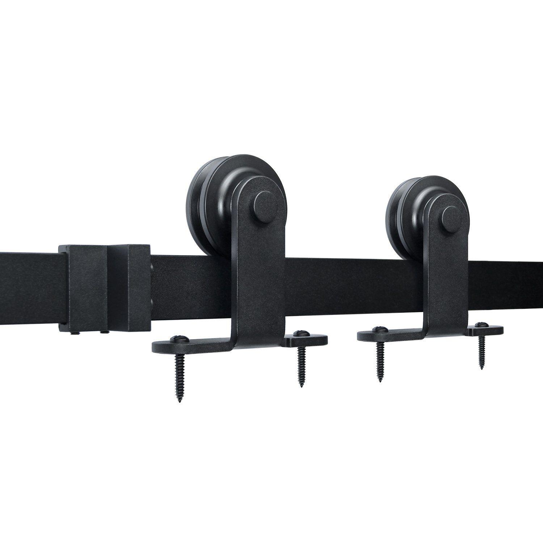 Smartstandard ft top mount sliding barn door hardware black t