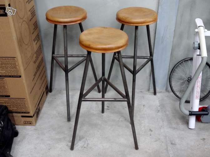 3 tabourets de bar acier ch ne design industriel ameublement paris home. Black Bedroom Furniture Sets. Home Design Ideas