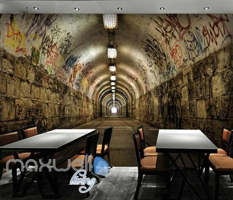 3d Tunnel With Graffiti On Wall Art Wall Murals Wallpaper Decals