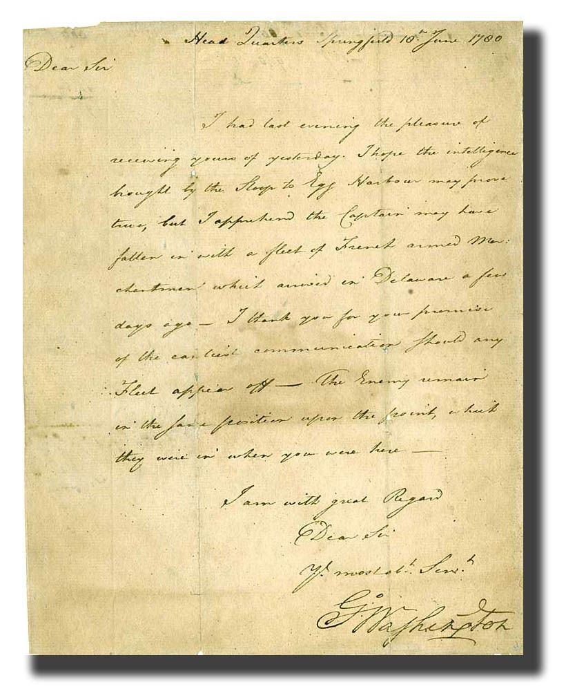 Letter From General Washington Dated Head Quarters