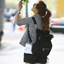7cb8960b64f6 Street Style Stylish Buckle Embellished Multi Way Black Canvas Backpack For  Women