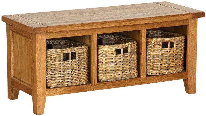 Tremendous Besp Oak Vancouver Oak Storage Bench With Baskets Nb078 Machost Co Dining Chair Design Ideas Machostcouk