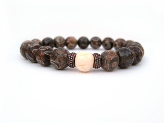 Collect Pretty Tibetan Agate Carved Pretty Buddha Beads Bracelet Fashion Jewelry