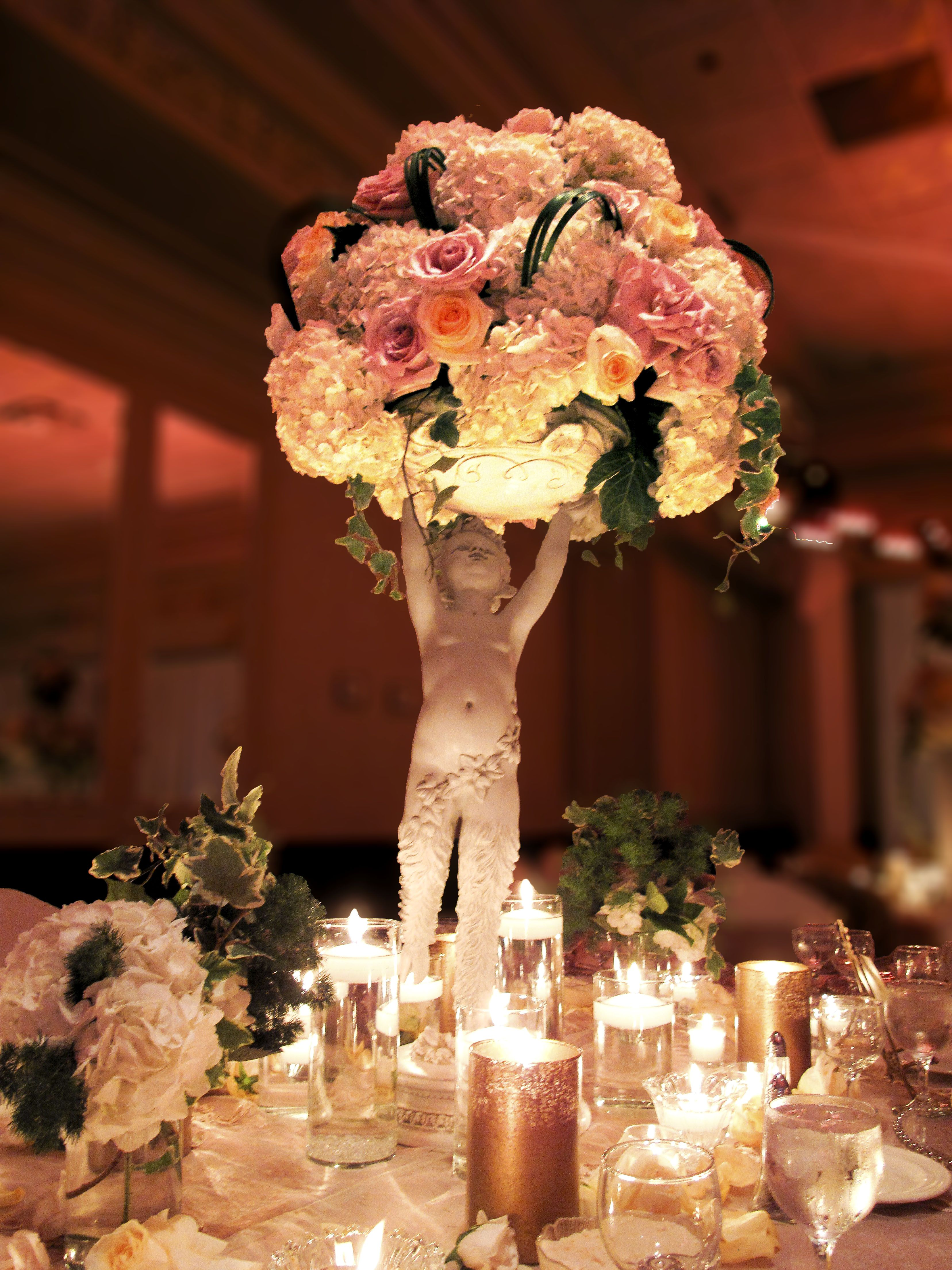 Romantic Pink Elevated Centerpiece