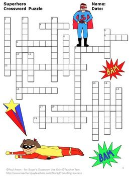 graphic about Superhero Crossword Puzzles Printable titled Superhero Things to do, Vocabulary Crossword Puzzle, Superhero
