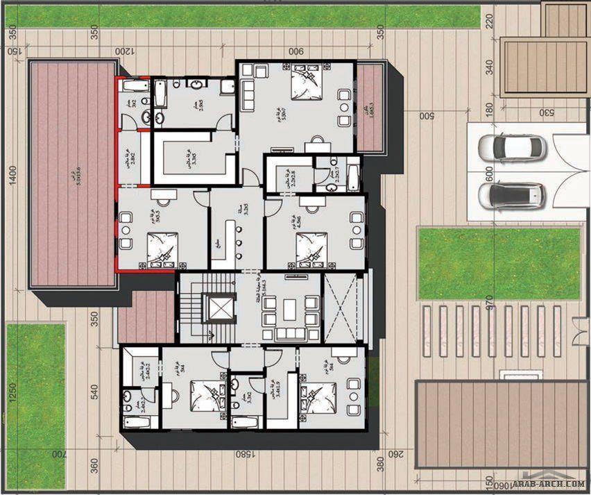 مخطط الفيلا رقم التصميم A5 من مبادرة بيتى 605 متر مربع 5 غرف نوم