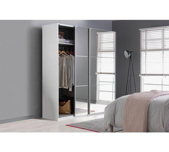 Buy hygena bergen door large mirrored sliding wardrobe wardrobes argos also rh pinterest