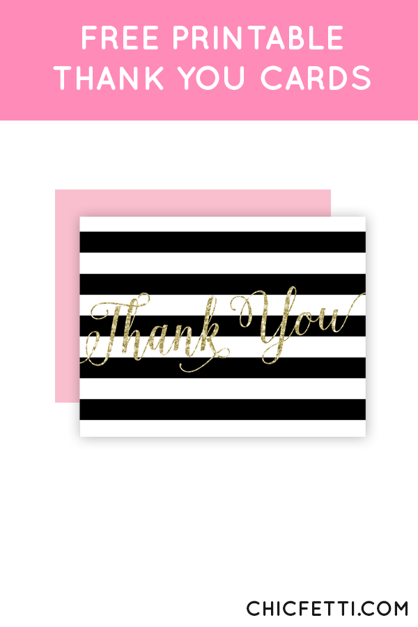 free printable gold glitter thank you cards from chicfetti