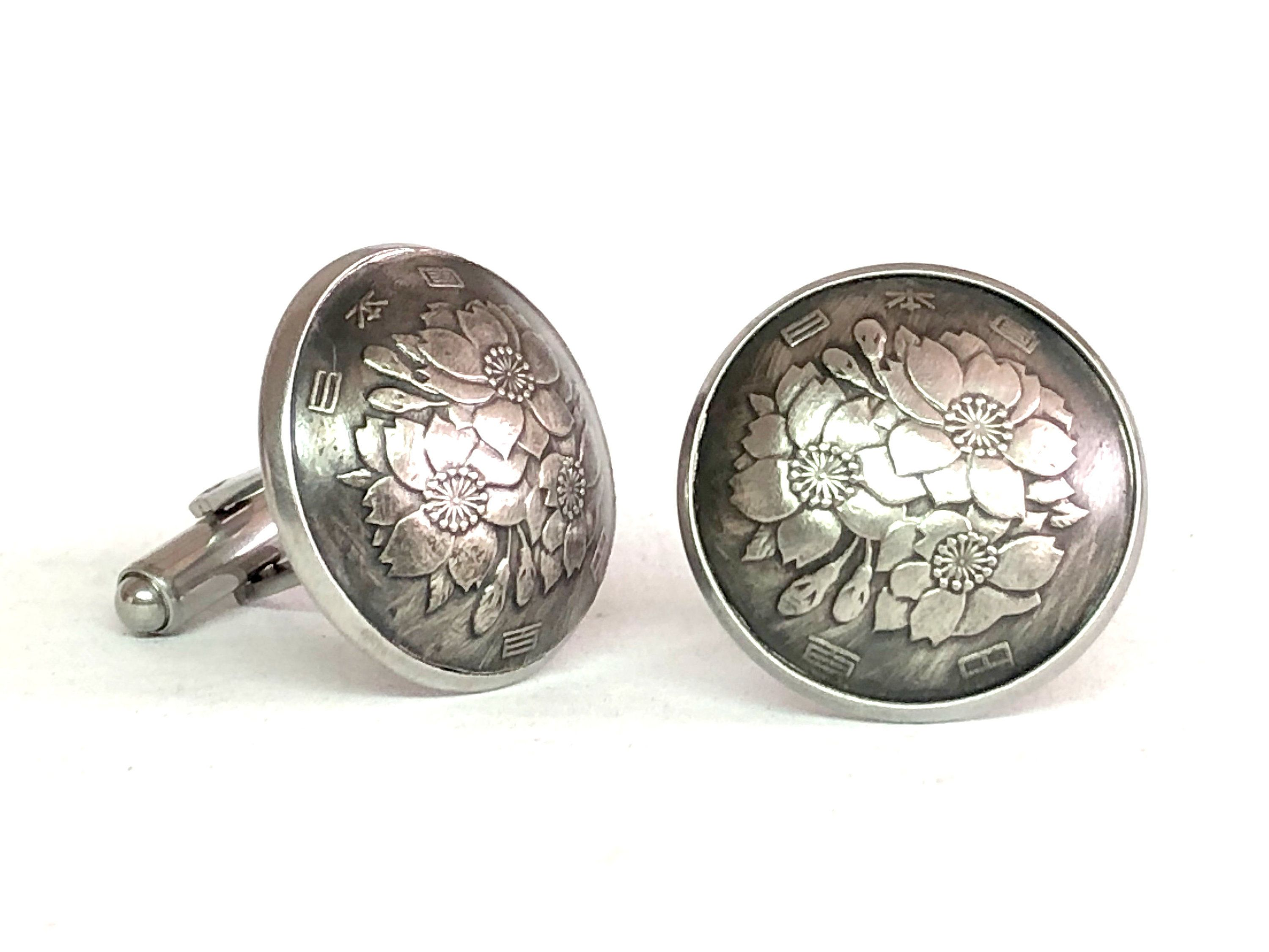 Domed Taiwan coin cufflinks Orchid 24mm