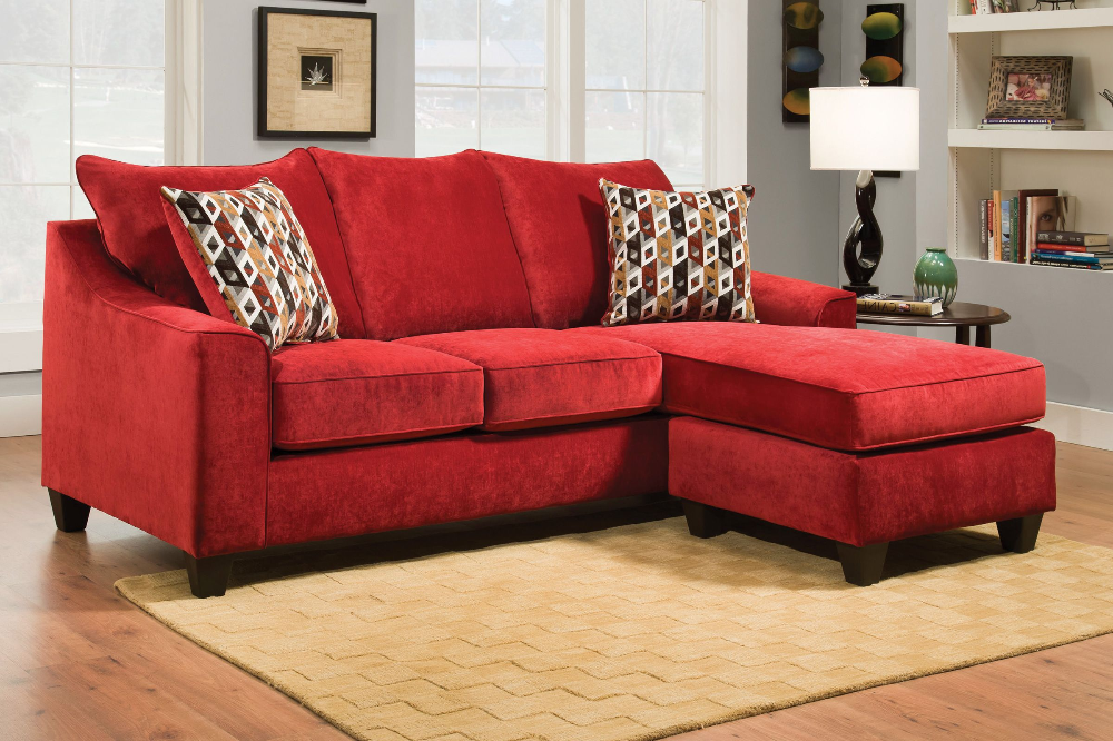Elizabeth Sofa In Red With Moveable Chaise At Gardner White Red Sectional Sofa Sectional Sofa With Chaise Red Sofa