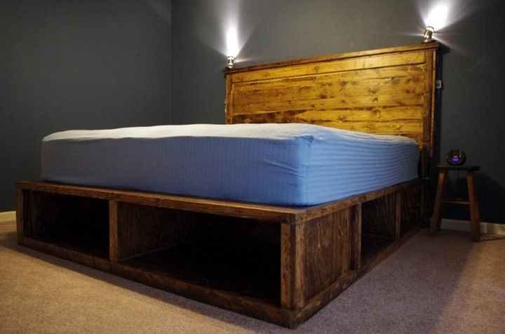 Bedroom: Rustic Wood Platform Bed With Storage Under Bed Building Project With Lamp Decoration In The Headboard: Exceptional Wood Platform Bed Ideas