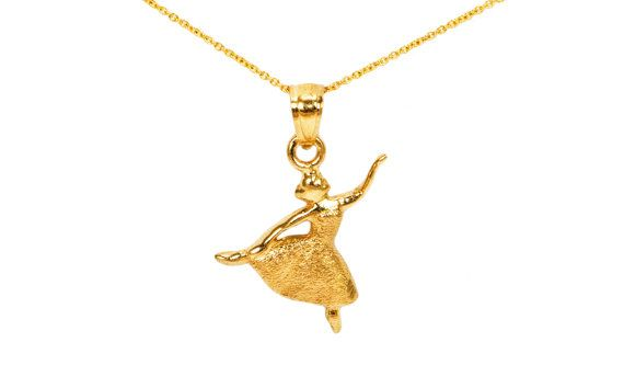 10k Gold Dance Necklace Dance Recital Gift Dance Teacher Gifts Dainty Gold Dance Charms For Charm Bracelet Gold Dance Necklace Yellow Jewelry Fire Jewelry