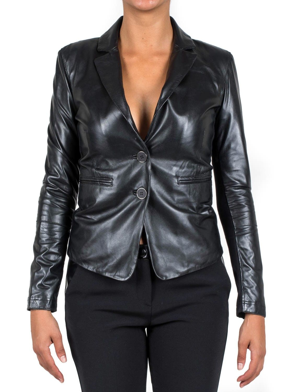 huge selection of 05e84 35c61 PINKO - Giacca in pelle KENT modello blazer - Nero - Elsa ...