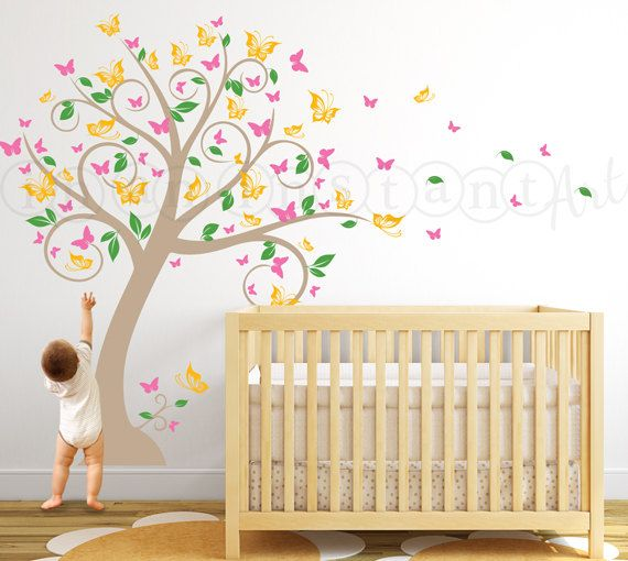 a21a40aebc Butterfly Blossom Tree Wall Decal, Tree with Butterflies and Leaves for a  Baby Nursery, Kids or Childrens Room 031 on Etsy, 66,45 €