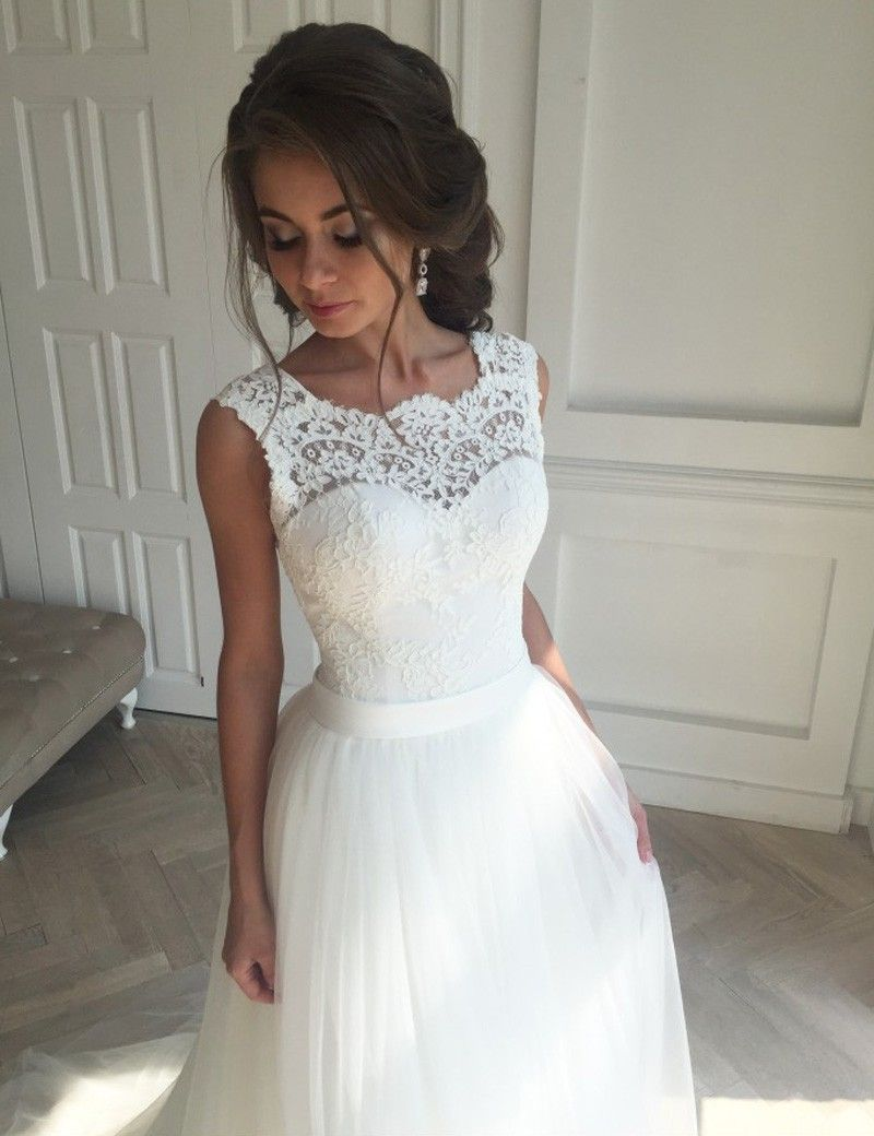 Decent Scalloped Sweep Train Open Back Wedding Dress With Lace Top ...